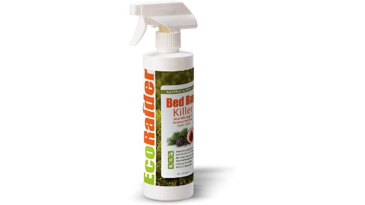 white bed bug spray bottle with a level