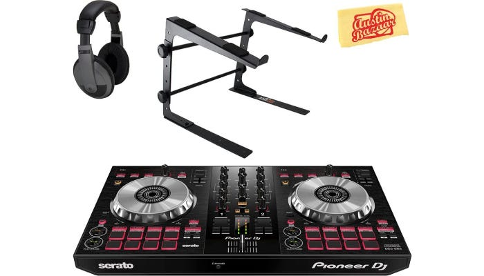 black turntable with red buttons beside several other DJ accessories
