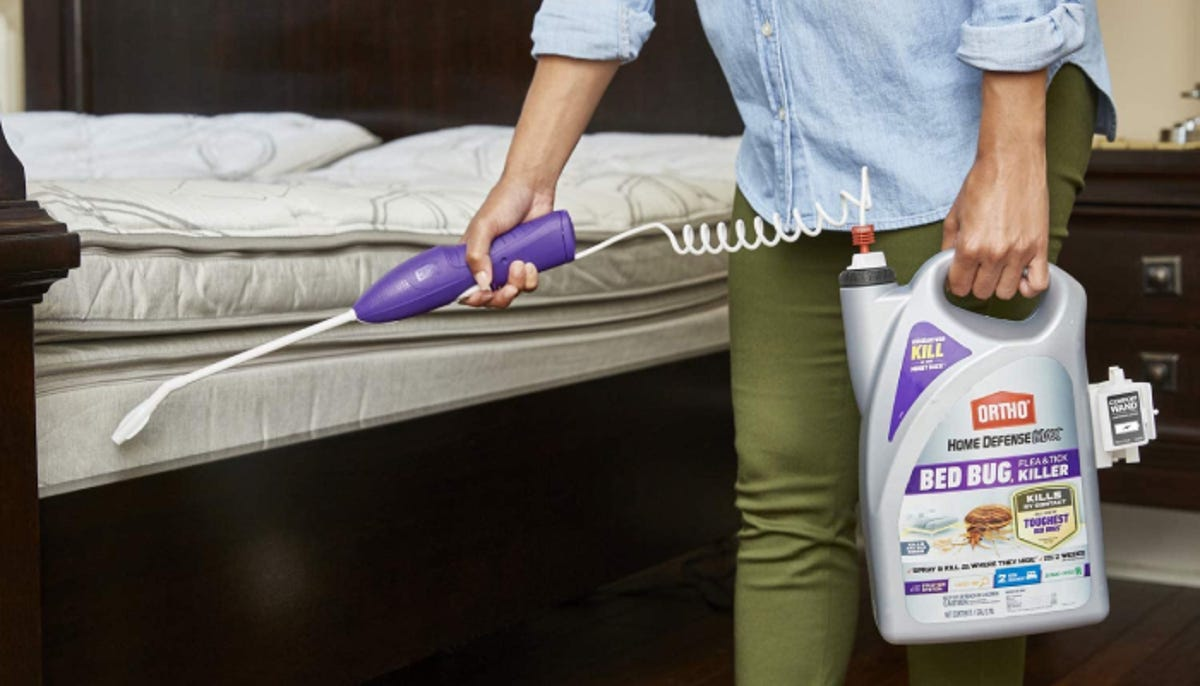 person spraying down their uncovered mattress with a large vat of bed bug spray