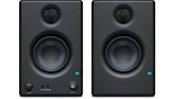 two black studio monitors