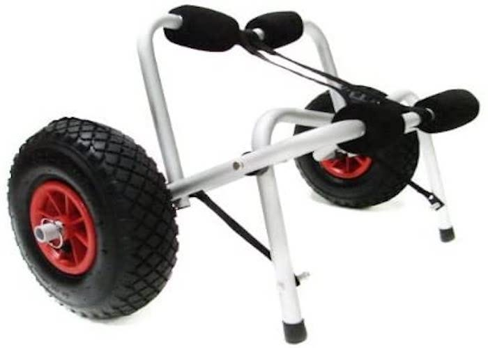 metal kayak cart with black accents, large black and red wheels, and foam-padded handles