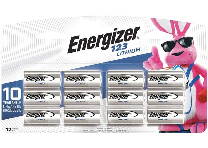 a 10-pack of Energizer CR123A batteries