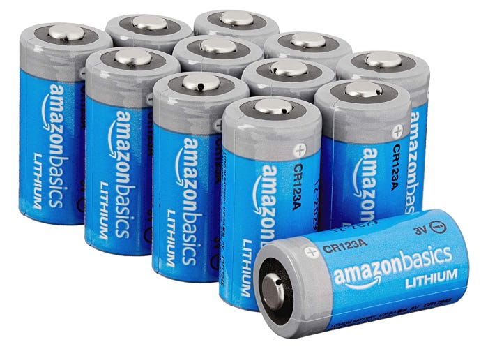 a group of Amazon Basics CR123A batteries