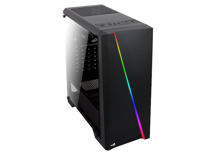 a black RGB case with a diagonal rainbow lighting stripe