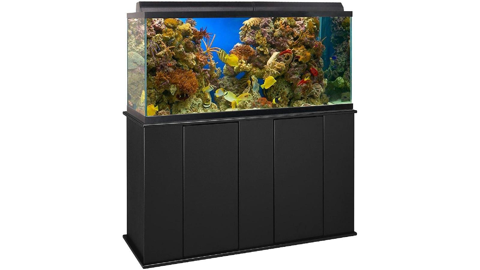 long black aquarium stand with a tank full of water, fish, and coral