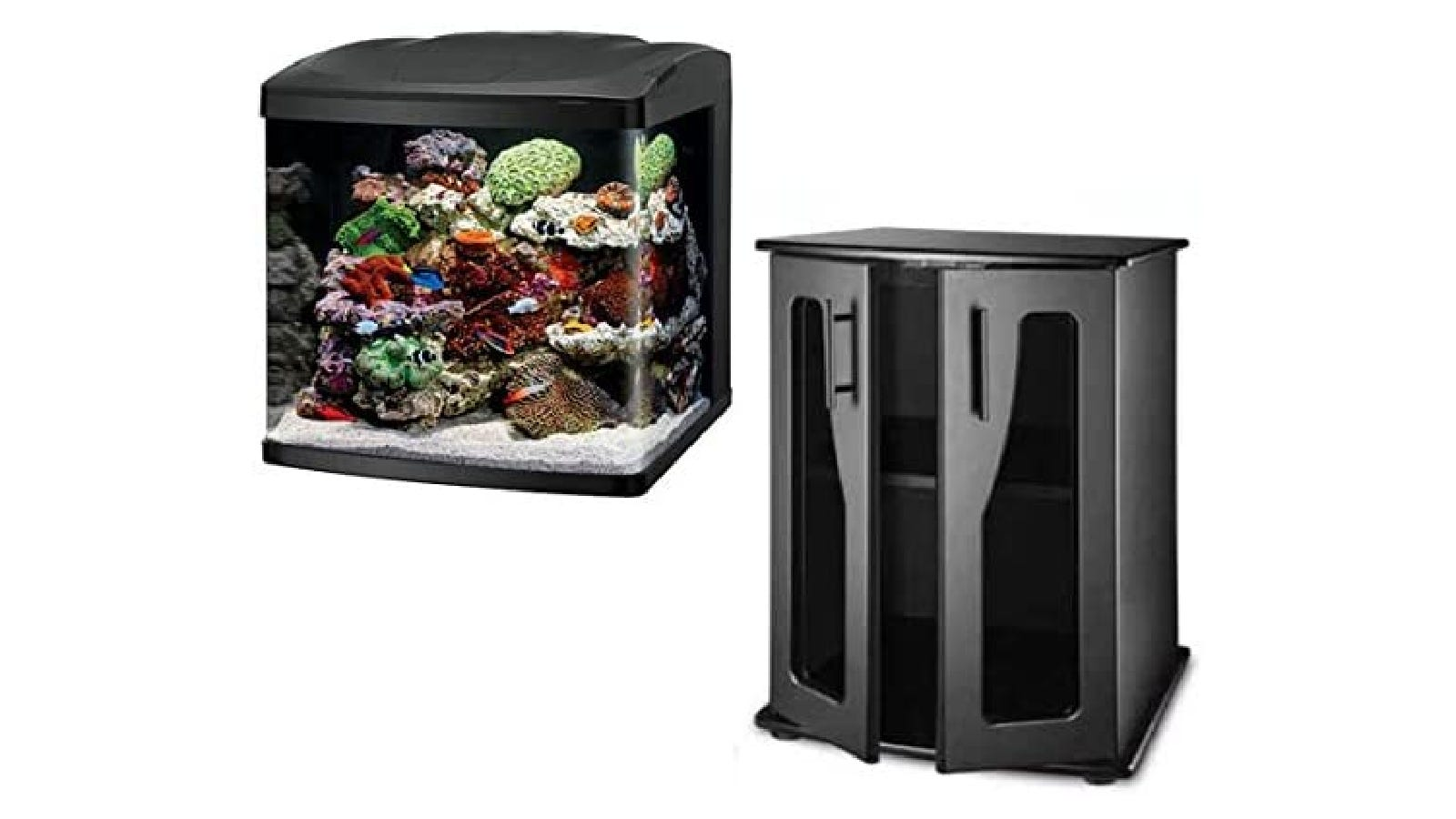 black cabinet-style aquarium stand next to a square fish tank full of water and coral