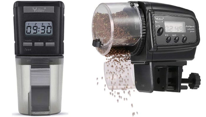 Two feeding options that both feature an LCD display, manual settings buttons, adjustable clamps, and ample food storage containers.
