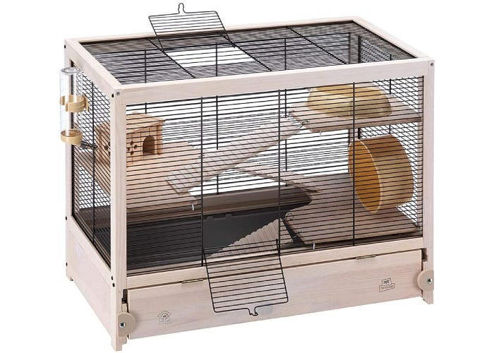 Wooden frame hamster habitat with wire top and side walls. Three wooden platforms and ladders with food dish, hamster hideaway, exercise wheel, and water bottle.