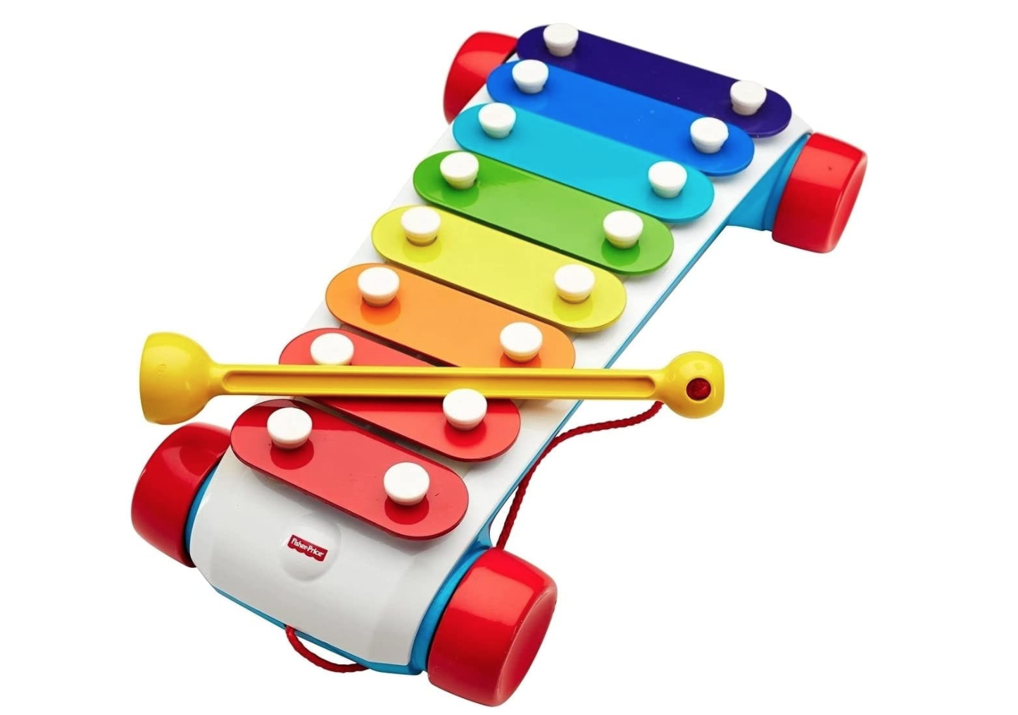 toy xylophone on wheels with rainbow keys and an attached yellow mallet