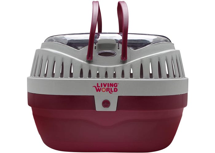Plastic hamster carrier with two handles, air vents, and cover latched onto base.