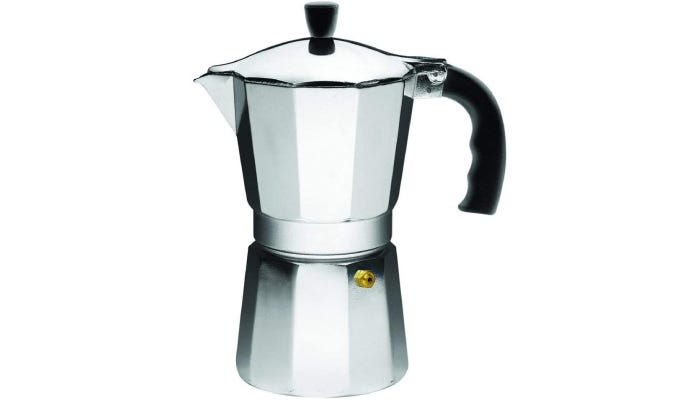 A three-cup capacity percolator that features an aluminum body and a rubber handle.