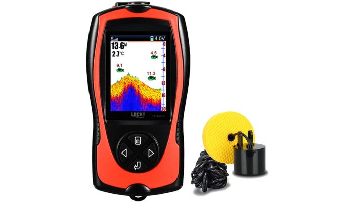 A red and black fish-finder that features a four-button interface and a wired 26-foot transducer.