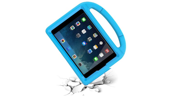 Blue iPad mini 5 case taking a fall, cracking the floor but not the case