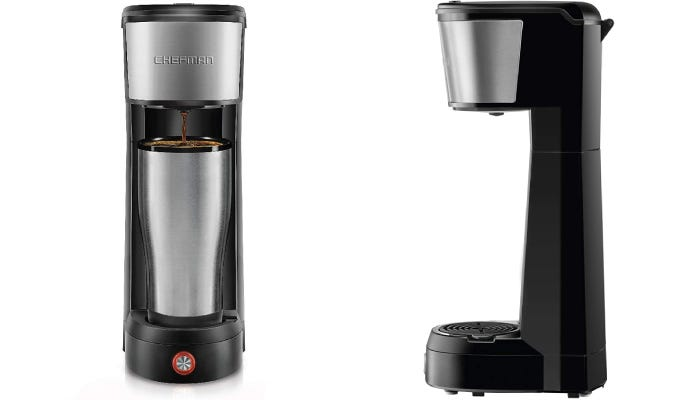 A polished black and chrome coffee maker with a single button operation at the base of the device.