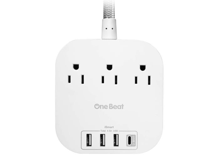White rounded square-shaped power strip with three AC outlets, three USB outlets, and one USB-C outlet