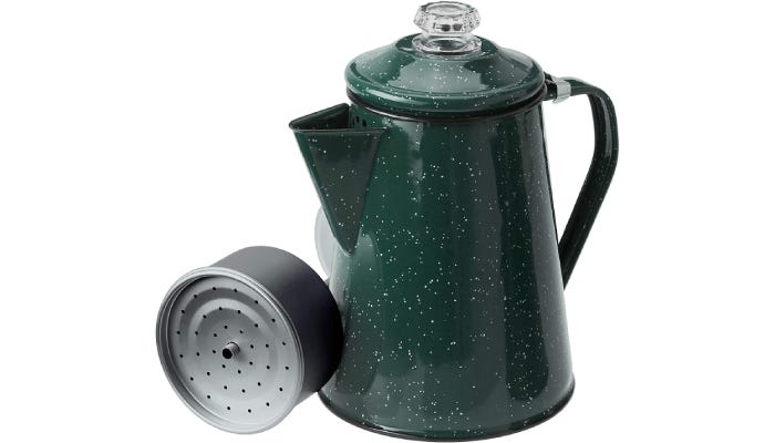 An enamel green coffee percolator that is speckled with white paint across the entirety of its tin.