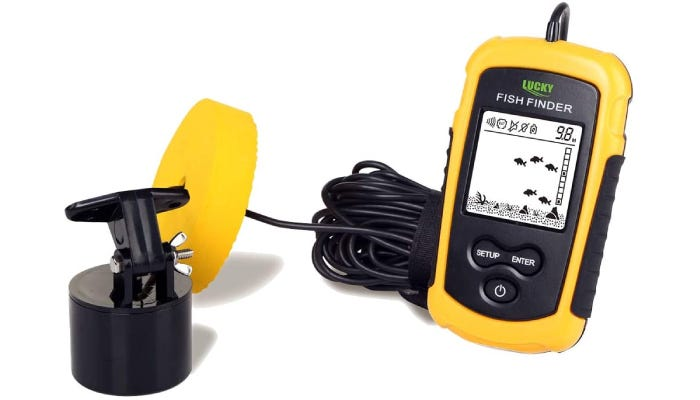 A pocket-sized black and yellow fish-finder that is corded and features a three-button interface.