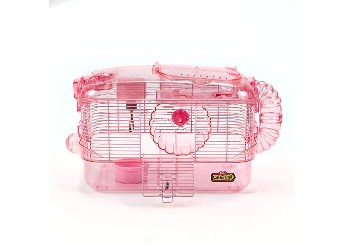Pink hamster habitat with wheel, food dish, water bottle. Exterior play tube connects two levels.