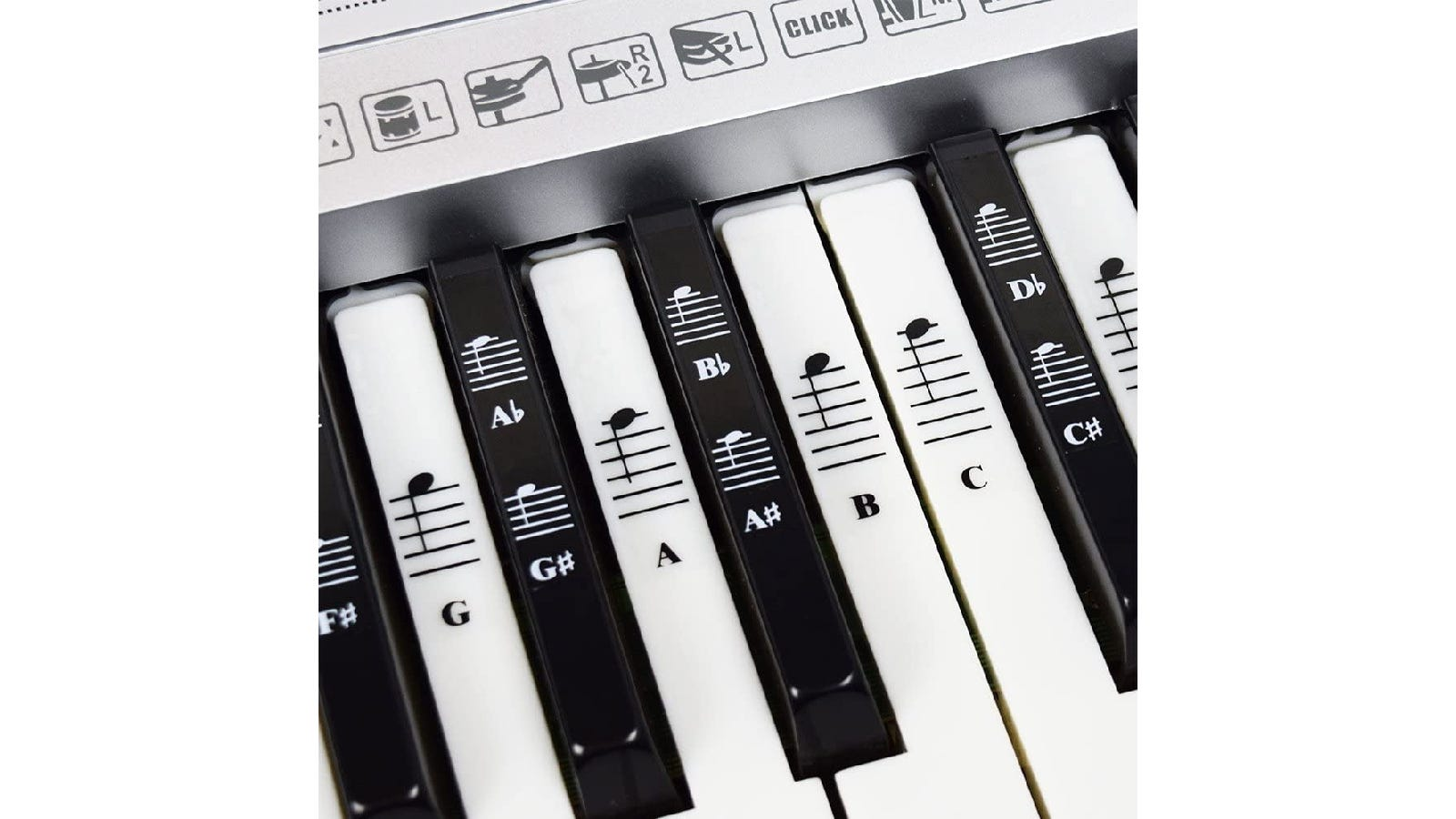 black and white piano keys with coordinating piano note stickers on each key