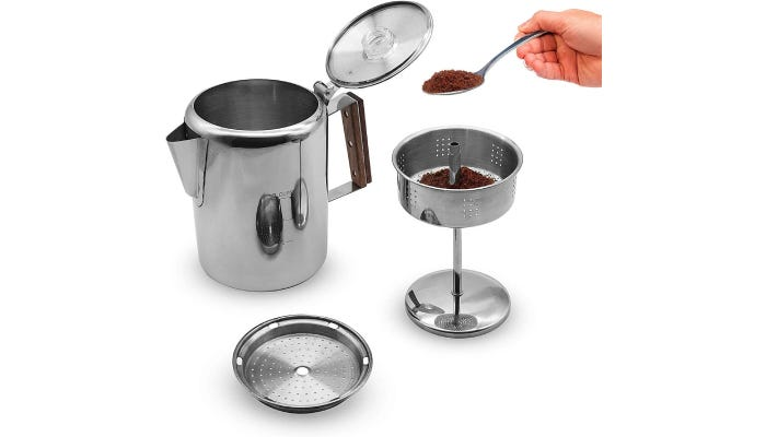 A 9-cup capacity percolator that features a mirrored, stainless steel body with a wooden insulator on the handle.