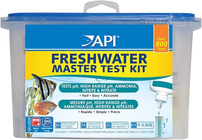 freshwater aquarium testing kit in a carrying bin
