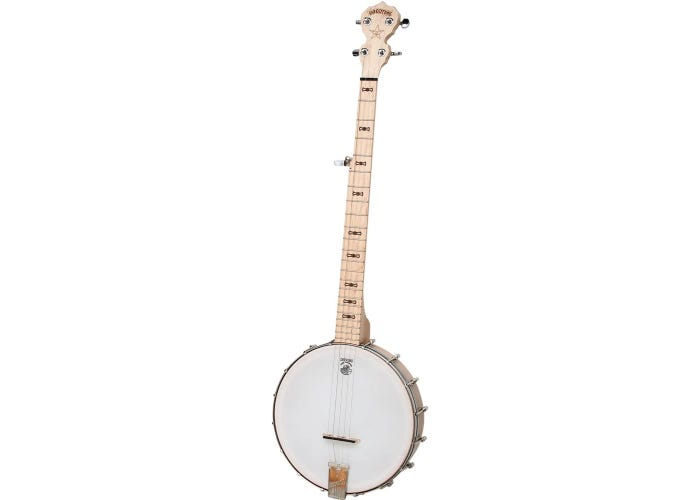An upright 5-string banjo with a light-colored maple neck.