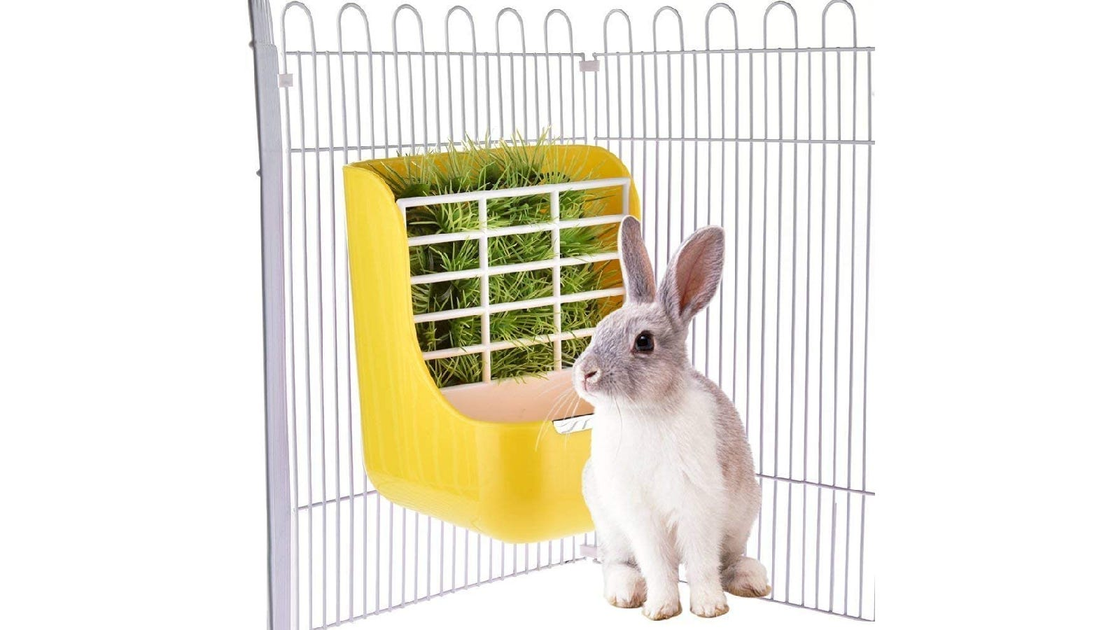 Yellow hay feeder attached to a cage with a white rabbit in front of it.