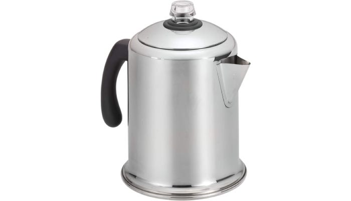 A polished stainless steel percolator with a glass knob on the lid and a rubber coated handle.