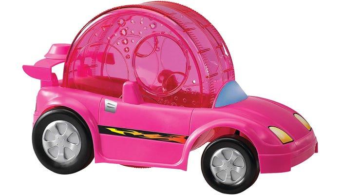 a hamster wheel built inside of a little toy car