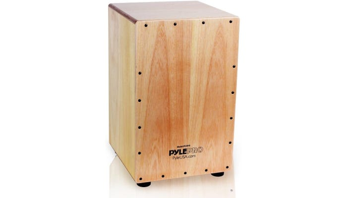 hand-crafted box-shaped wooden Cajon drum with a rear sound port.