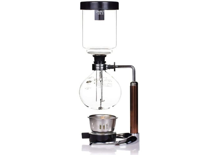 Three-tiered siphon coffee maker with large handle, borosilicate glass chambers, and an alcohol burner