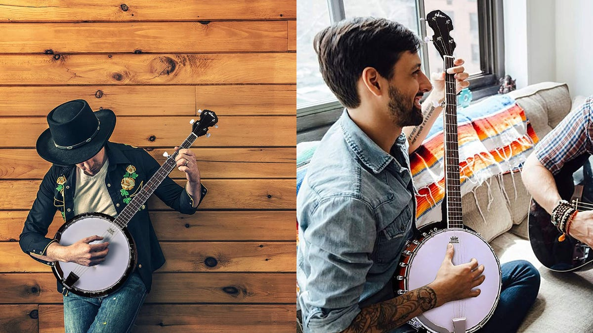 On the left, a man leans against a wooden wall and plays the banjo. On the right, a man is sitting on his couch and frets a note on the banjo.