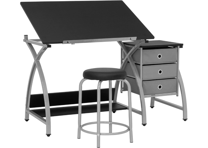 An adjustable desk with three drawers to the right and a padded stool.