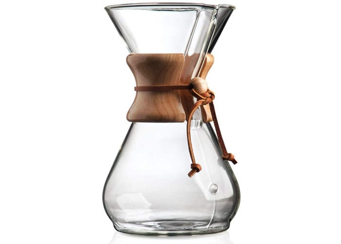 Large glass pour-over coffee maker with a wooden collar and flattened bottom.