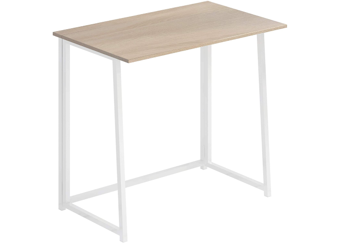A simple wooden desk that has white legs and is collapsible.