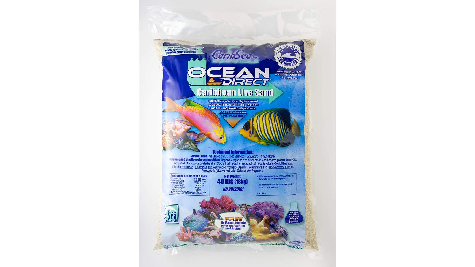 clear plastic bag with aquatic fish and coral on the cover, filled with white sand
