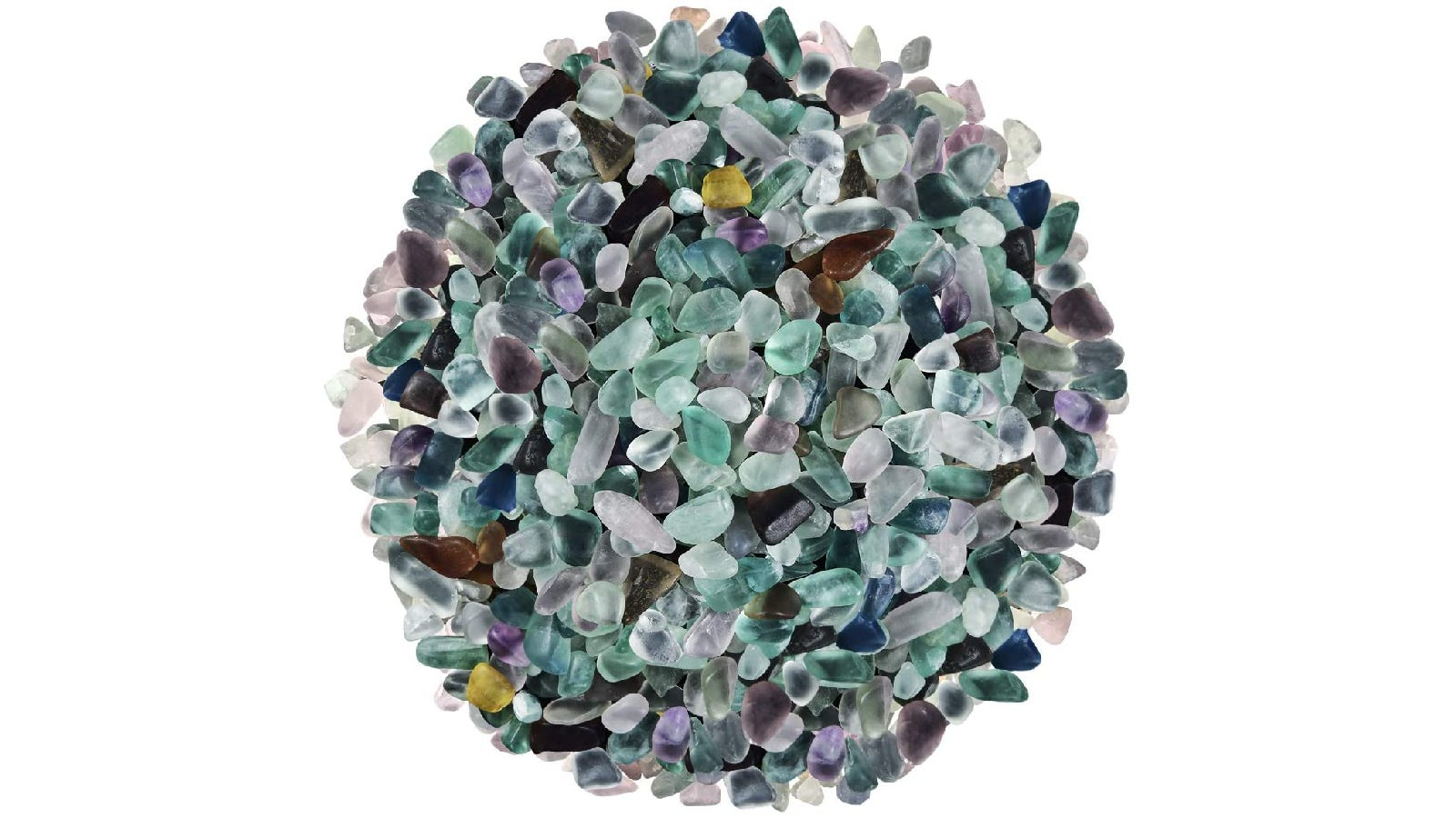 small circle of aquarium gravel in shades of blue, purple, and brown
