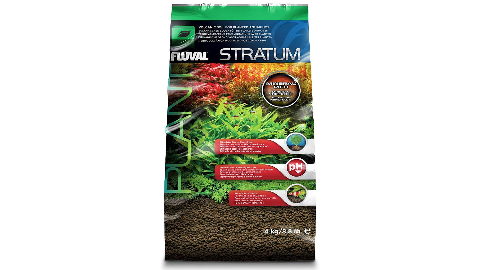 green plastic bag with a cover that features aquatic plants growing out of brown gravel