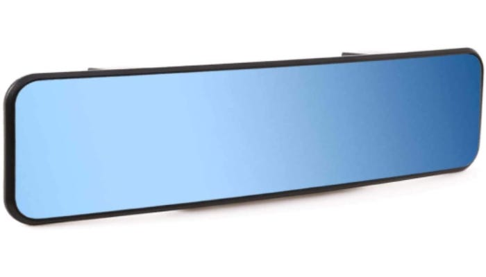 A long blue-tinted car rearview mirror is displayed.