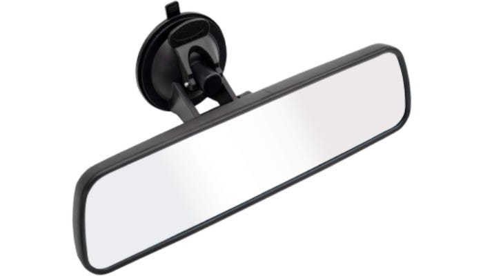 A car rearview mirror with a suction cup attachment is displayed.