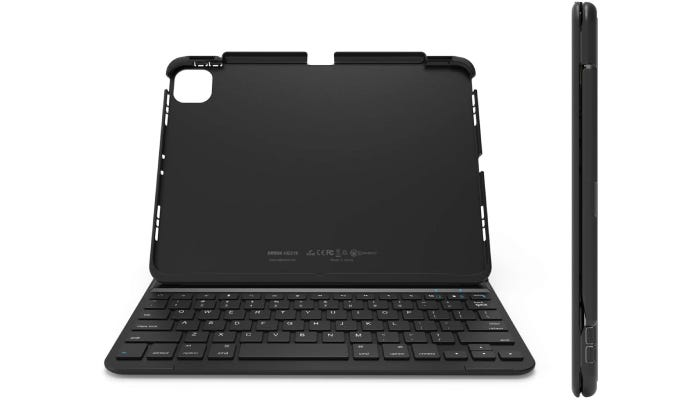 an empty tablet case with a keyboard built-in