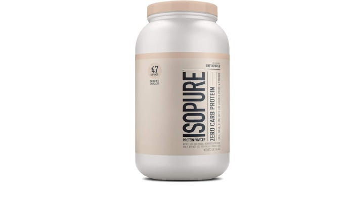 A tall and thin container of Isopure protein powder
