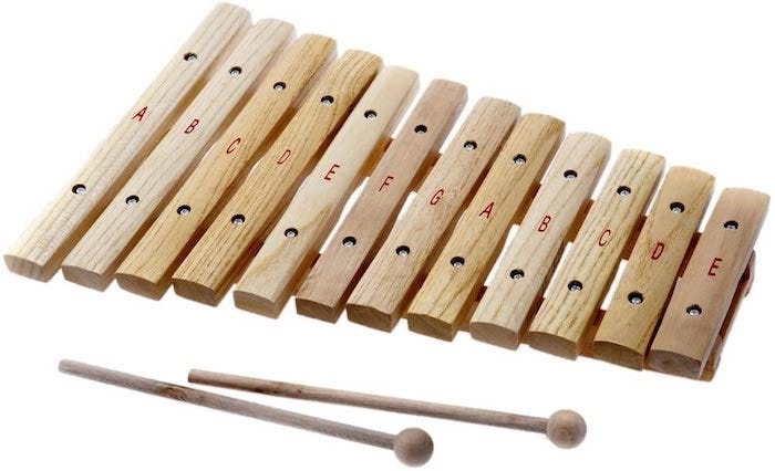unpainted wooden xylophone with matching mallets