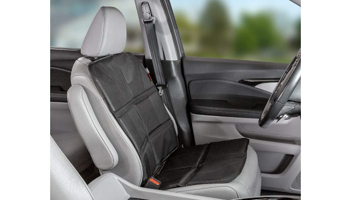 A black car seat cover is shown covering only the seat of the driver's seat.