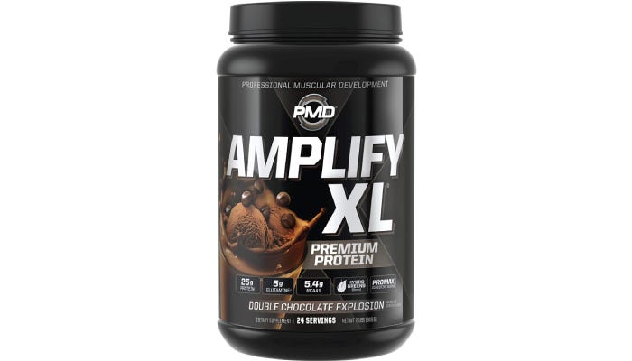 a large container of PMD Amplify XL protein powder