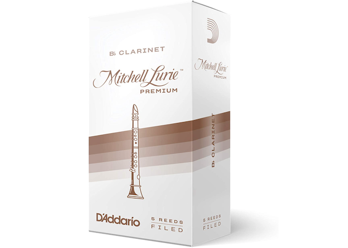 white box of clarinet reeds with brown stripes