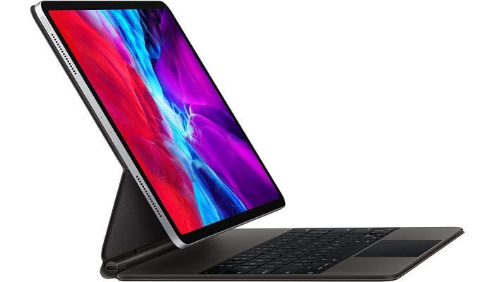an iPad standing in a sleek keyboard case
