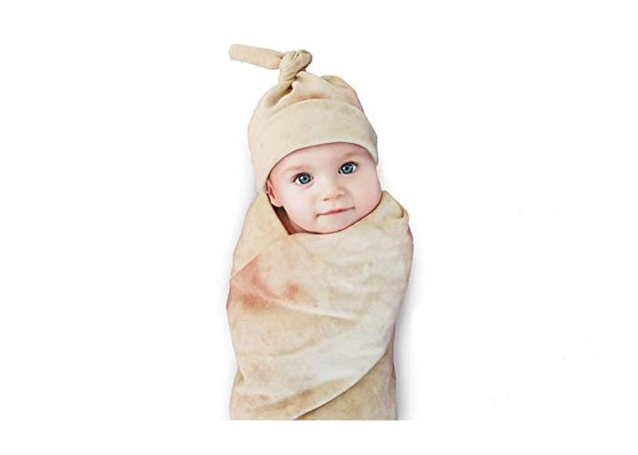 baby swaddled in burrito blanket with matching hat