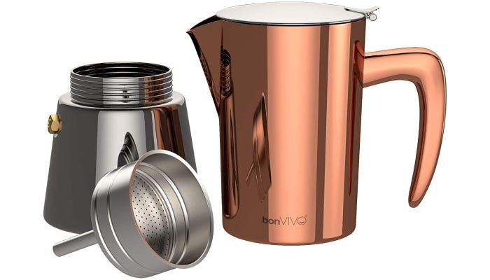 A slim percolator that features polished copper and chrome on the top and bottom portions of its frame.