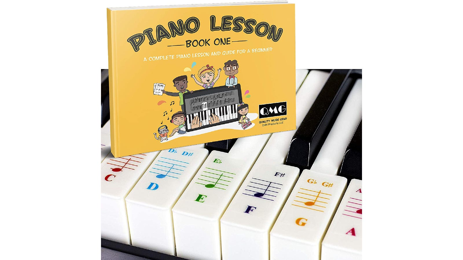 black and white piano keys with colorful, coordinating piano note stickers on the white keys; in the top left corner is a yellow piano lesson book